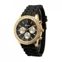 Sort silikone ur med guld,similisten og dekorationsskiver/knapper