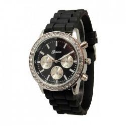 Sort silikone ur med sølv,similisten og dekorationsskiver/knapper