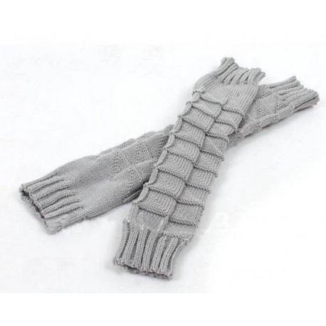 Lange fingerløse vanter grå