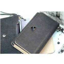 Mørkegrå pung med plads til mobiltelefon