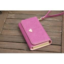 Pink pung med plads til mobiltelefon
