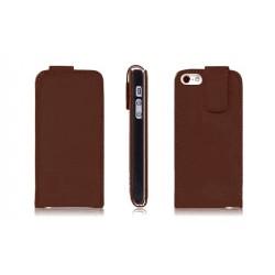 Brun PU læder cover til iPhone 5