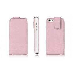 Lyserød PU læder cover til iPhone 5