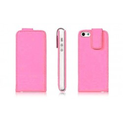 Pink PU læder cover til iPhone 5