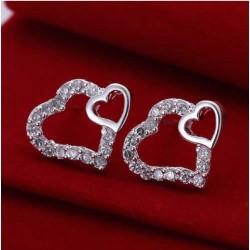 Sølv øreringe med stort og lille hjerte