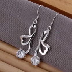 Sølv øreringe - aflange med stor sten